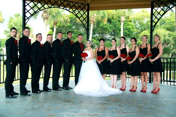 Black Red White Wedding Party Entourage Bridesmaids Groomsmen Dresses Bride Groom Tuxedos Pinterest Tuxedo And