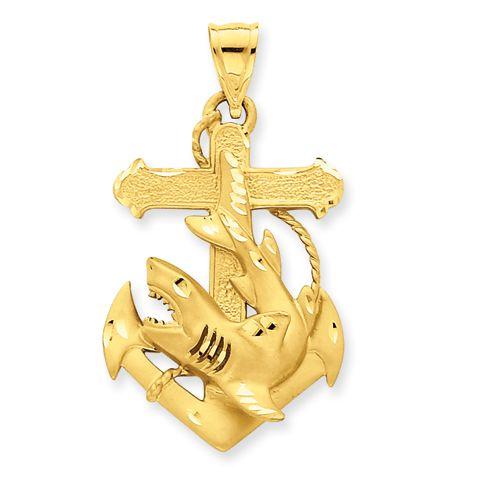 14k Diamond-cut Medium Anchor w/Shark Charm $730.95