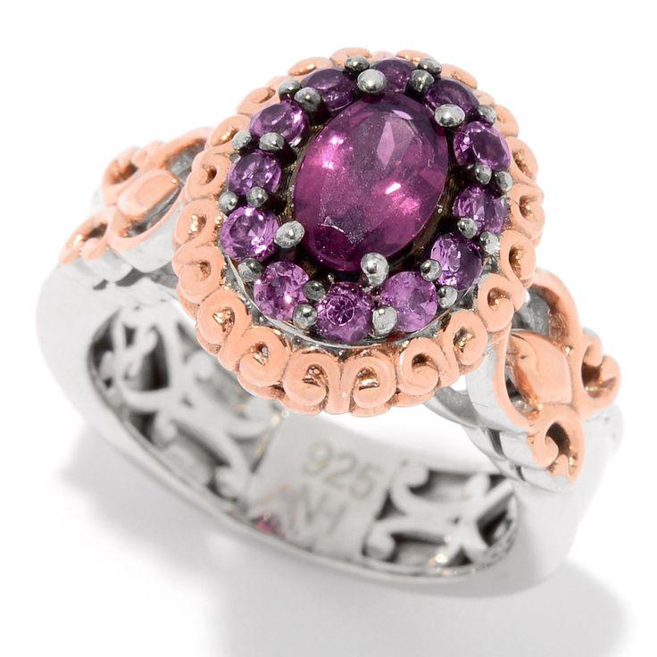 159-205 - Gems en Vogue 1.48ctw Color Change Purple Garnet Halo Ring
