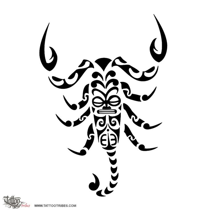 Polynesian styled scorpion    The scorpion is often seen as a symbol of danger, of death, but many cultures consider it a symbol of life instead. Its poison can be used to heal, and not only to harm.    That´s why we placed a symbol of protection like the tiki on its body, and also to be a symbol of fertility (the sting is often seen as a male symbol). The pincers are made of waves because the scorpio in the zodiac is a water sign, and the two fish hooks[...]