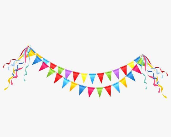 Bunting Background Party Streamers Colorful Birthday Party Free Clip Art