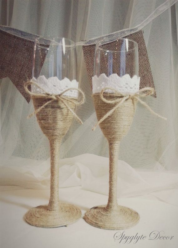 Rustic champagne Glasses with rope ribbon and lace by Spyglyte