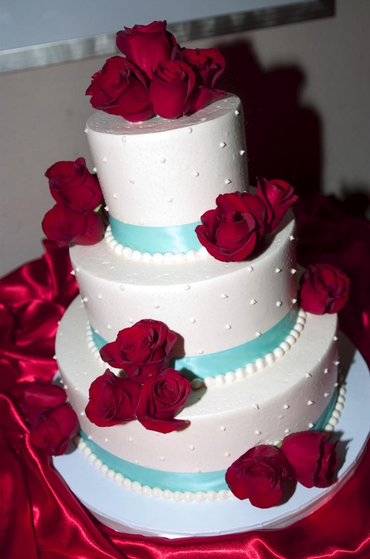 Red & Aqua blue wedding colors