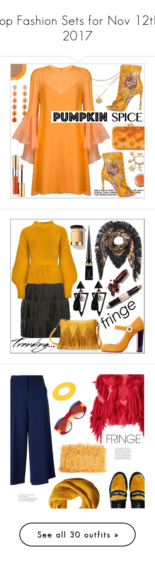 """""""Top Fashion Sets for Nov 12th, 2017"""" by polyvore ❤ liked on Polyvore featuring Benedetta Bruzziches, Chanel, Rebecca de Ravenel, Galvan, Yves Saint Laurent, NYX, Shiseido, fashionset, pumpkinspice and Etro"""