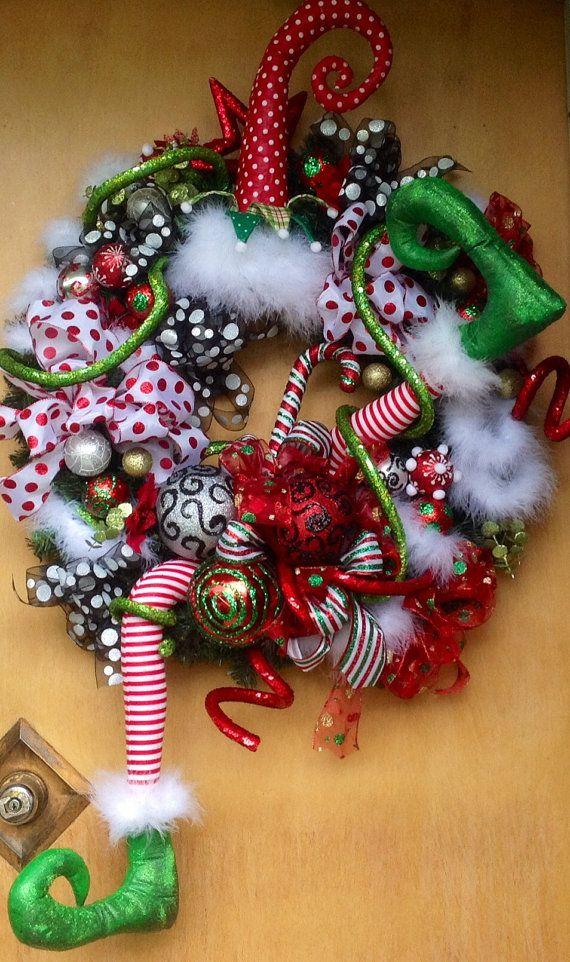 Elf Wreath, Christmas Wreath, Holiday Wreath, Christmas Holiday Wreath…
