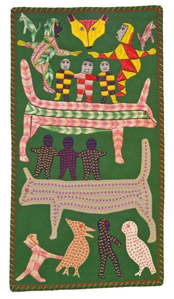 Winnie Tatya Canadian, b. 1931 People and Animals, 1971–1972 wool felt, embroidery floss on wool stroud  87 x 47.5 cm  Collection of the Winnipeg Art Gallery; Gift of Faye and Bert Settler  2003-157