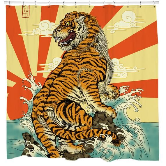 Tiger Shower Curtain Japanese Shower Art Cool Bathroom Decor