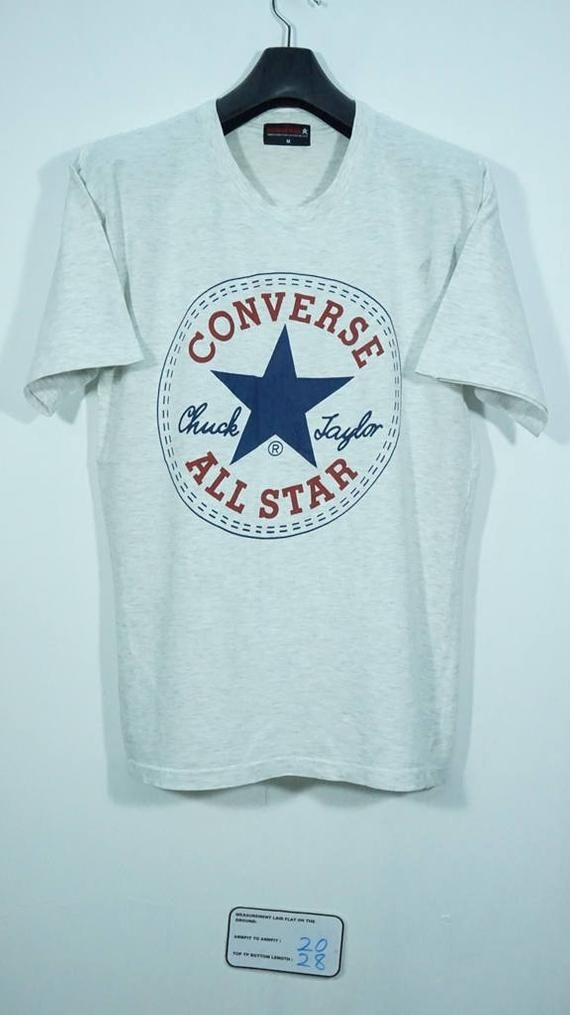 Vintage Converse All Star T Shirt in Grey with Print Logo.