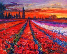 Peinture à L'huile De Pavot à Opium (Papaver Somniferum) Ou Champ De Tulipes En Face De Beau Coucher De Soleil Sur Canvas.Modern Impressionnisme Banque D'Images, Photos, Illustrations Libre De Droits. Pic 24294271.
