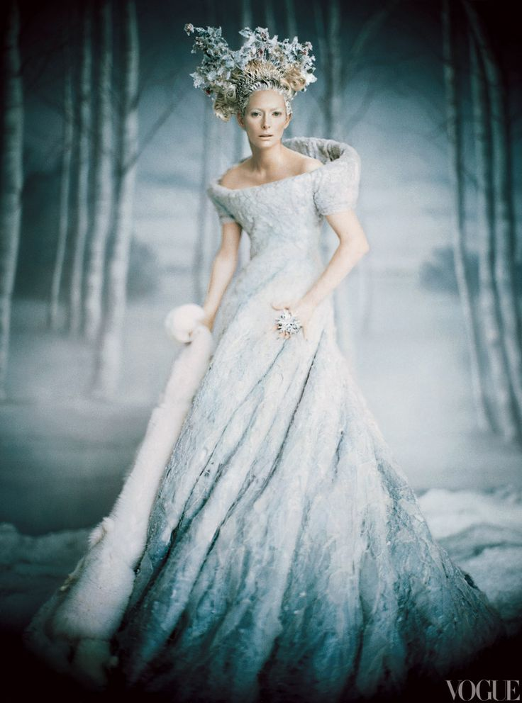 "PALE FIRETilda Swinton, in costume as the White Witch in a pale-blue felt dress and white fox fur stole. As the witch\'s power wanes, her costumes get smaller and her ""icicles"" in her headdress melt."