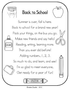 BACK TO SCHOOL POEM PACK/MINI UNIT - TeachersPayTeachers.com