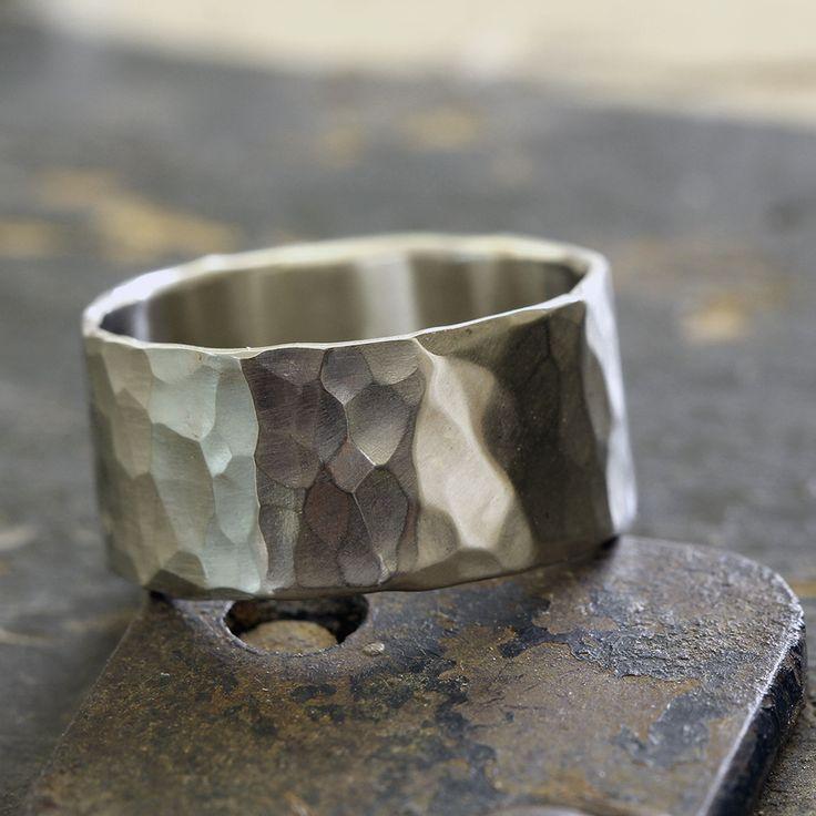14k Gold Hammered Wide Band Wedding Ring