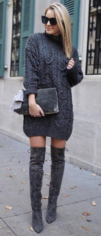 27f440710a4 Amazing Outfit Knit Sweater Dress Plus Bag Plus Over Knee Boots