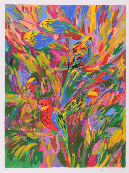 New Parrots, Ken Done. 1990, screenprint on paper Size 76 x 57cm. Grafton Gallery Australia. Donated through the Australian Government's Cultural Gifts Program by Ken Done