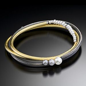 Oval Bangle - Artisan Jewelry - Oxidized Sterling Silver, 18K Yellow Gold, Fresh Water Pearls by Christine Mackellar