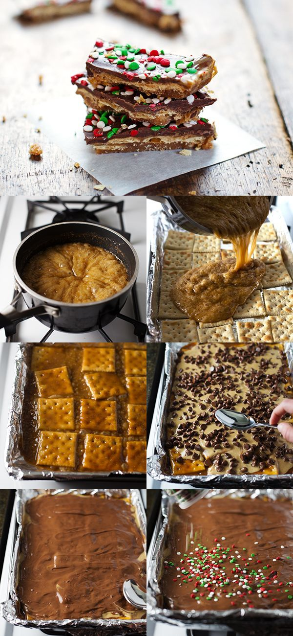 Chocolate Peanut Butter Saltine Toffee - simple, salty, and sweet. Perfect last-minute Christmas treat!   pinchofyum.com