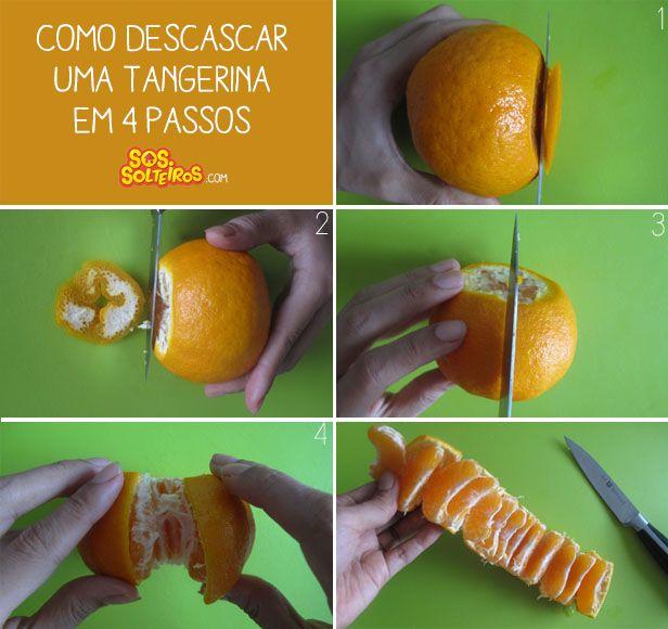 Descascando laranja bem prático.