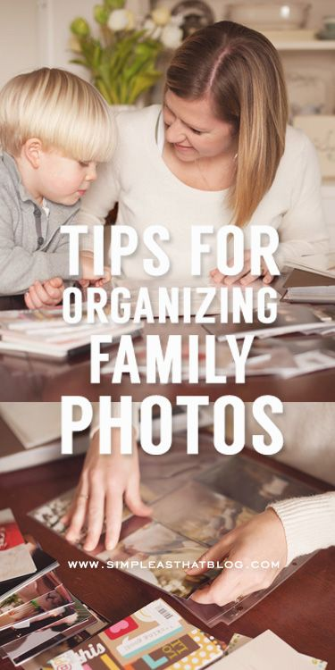 Tips For Organizing Family Photos : Get your photos out of storage with these quick tips for getting your family photos organized! Via Simple As That