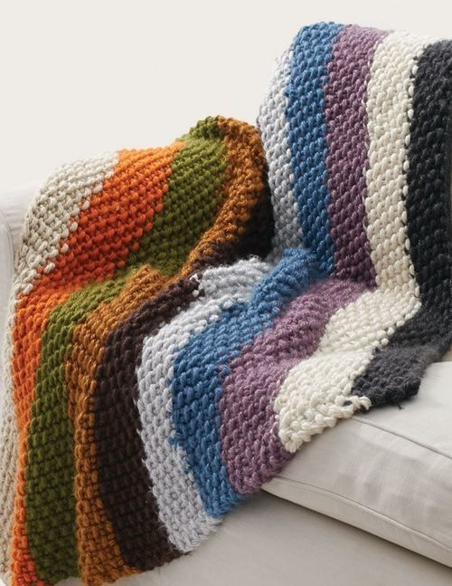 Simple Striped Seed Stitch Afghan ~ BEGINNER level ~ FREE - KNIT