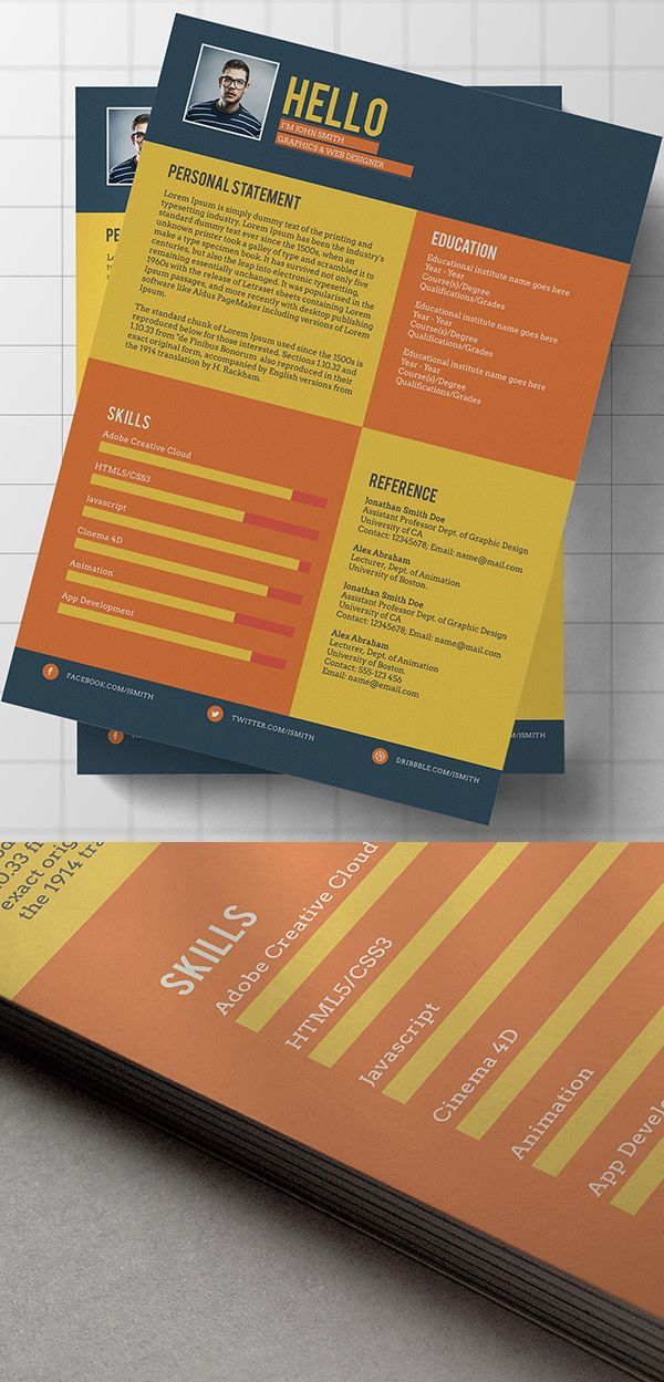 Free Flat Style Resume Template 35 best