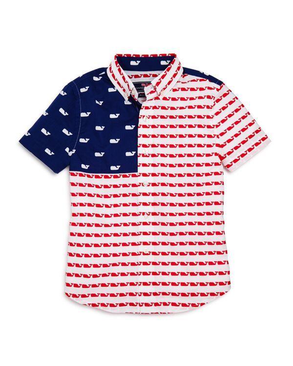 Vineyard Vines Boys' Usa Whale Flag Shirt - Little Kid