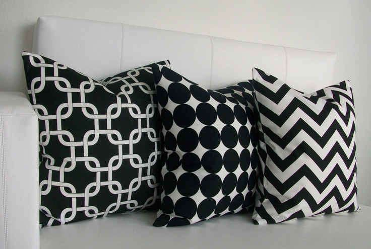 3 Black and White Decorative Pillow Covers - Pillows - 16 x 16. $50.00, via Etsy.