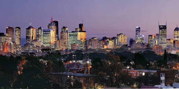 View of Melbourne city skyline from Northcote