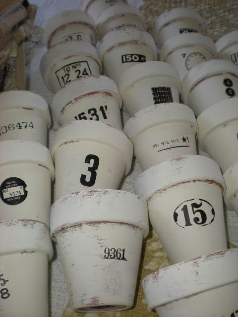 "A Shabby Moment in Time: Chalk painted pots for the ""WHITE EVENT""  Annie Sloan Old White Chalk Paint"