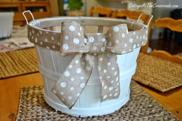 painted apple basket. uses for bushel baskets.