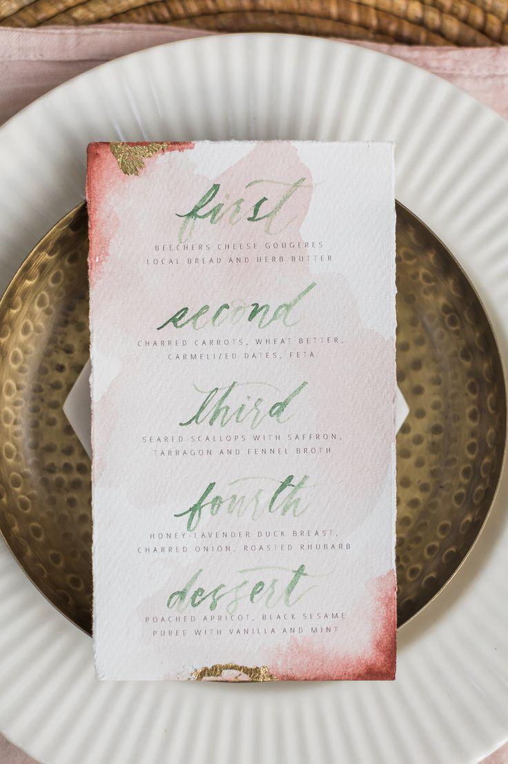 Boho Inspo Watercolor Wedding Menu    Rock and Stone Weddings    Joanna Monger Photography