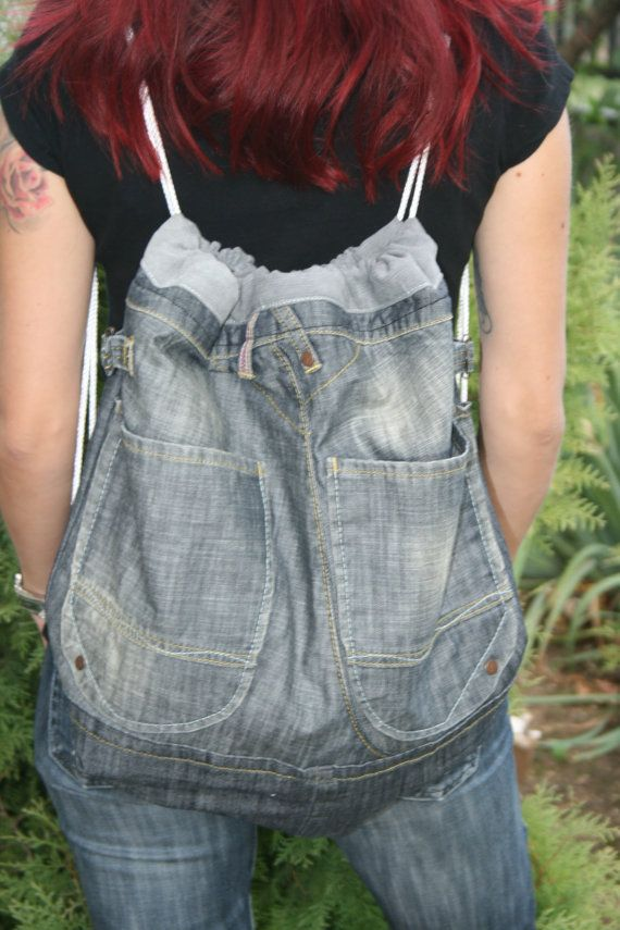 Blue denim backpack Boho Hippie backpack Drawstrings by PrettyMery