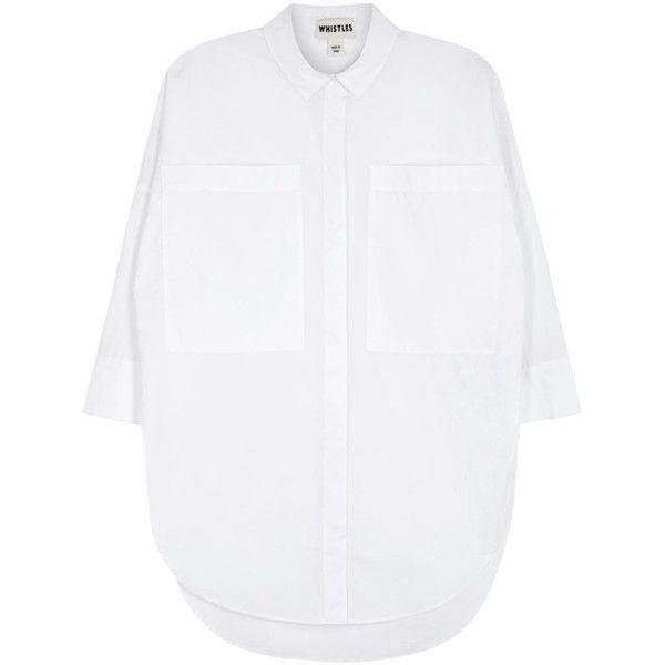 Whistles White Cotton Poplin Shirt ($49) ❤ liked on Polyvore featuring tops, shirts, curved hem shirt, white shirts, whistles tops, round hem shirt and cotton poplin shirt