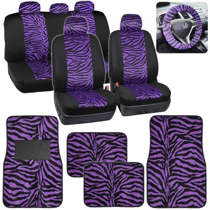 Velvet Animal Car Seat Covers & Floor Mats Purple Zebra Accent on Black w/ Steering Wheel Cover Seat 16pc Set