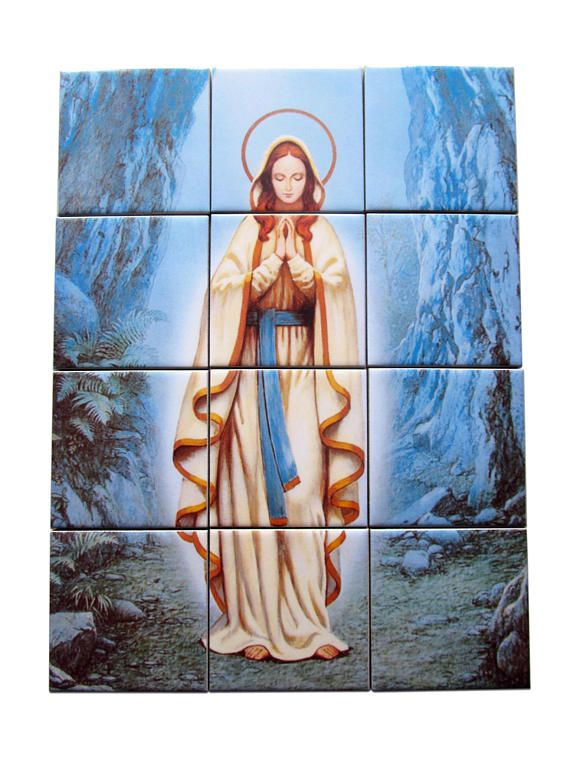 Our Lady of Lourdes collectible tile mural / mosaic. LIMITED AND NUMBERED EDITION. Now on Etsy: >>> https://www.etsy.com/listing/543889531 <<<  The mural is ready to hang. Composed by 12 ceramic tiles. Suitable for indoor or outdoor use. Shipping free to selected countries.  I WILL CREATE ONLY THREE MOSAICS. Each mosaic will come with a numbered warranty certificate signed by me.  100% handmade in Italy by @TerryTiles2014  #lourdes #ourladyoflourdes #virginmary #immaculate #avemaria…