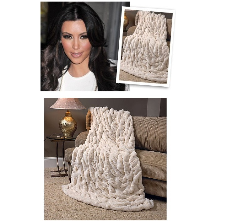 Ivory Ruched Faux Fur Throw Celebrity Purchase Kim Kardashian More Luxury Hollywood Interior Design Inspirations To
