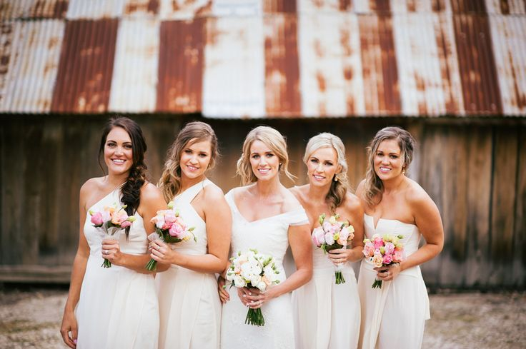 white bridesmaids dresses. A romantic, farmhouse wedding in Australia. Images by Gold Hat Photography