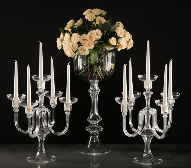 Vases and candleholders - glassware for wedding decoration.