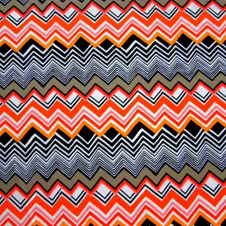 Orange, Grey, and Black Chevrons Nylon Lycra Swimsuit Fabric