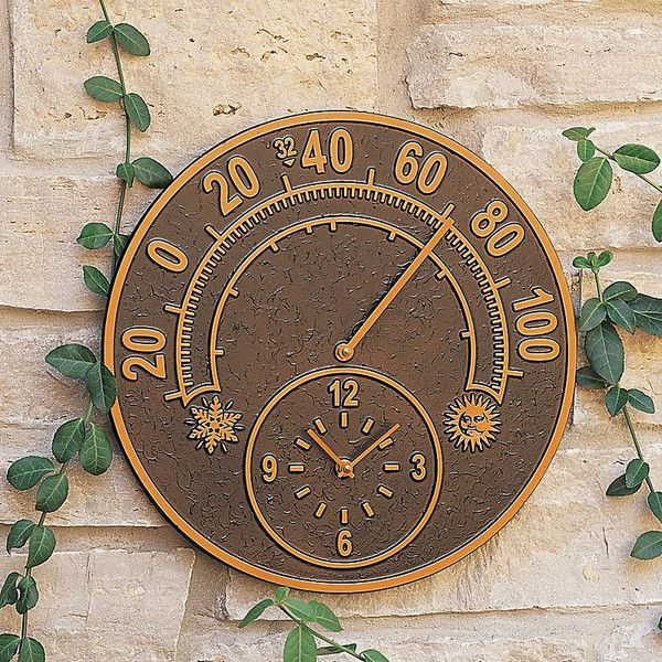 Clock/Thermometer-Antique Copper (760 NOK) ❤ liked on Polyvore featuring home, outdoors, outdoor decor and outdoor yard decor