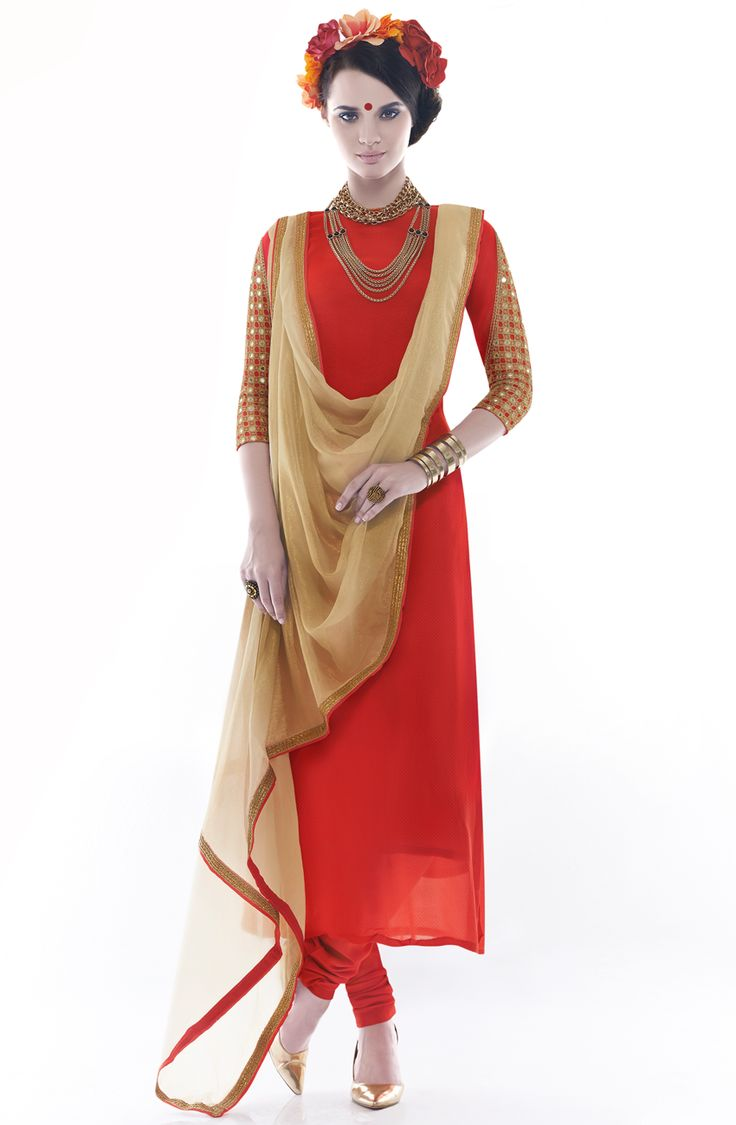 Designer Exclusive Red Unstitched Georgette Embroidered Salwar Suit with Mirron Work- SHA1107 To shop here: http://goo.gl/f7EQMk