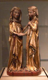 Titulo de la obra:Visitación, donde se puede ver a la Virgen María y a su prima Isabel de 1310. Autor:Maestro de Constanza  Material:escultura de madera de nogal policromada y dorada.