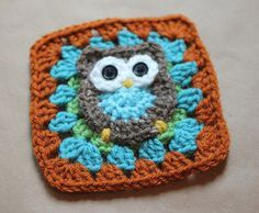"""Owl Granny Square Pattern ~ free pattern (Probably not a 6"""" square, but should be able to turn it into one."""