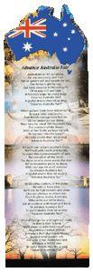 Bookmark with the lyrics to Advance Australia Fair! Study and analyse the lyrics.