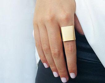 Anillo de oro banda ancha anillo anillo ajustable por HLcollection                                                                                                                                                                                 Más