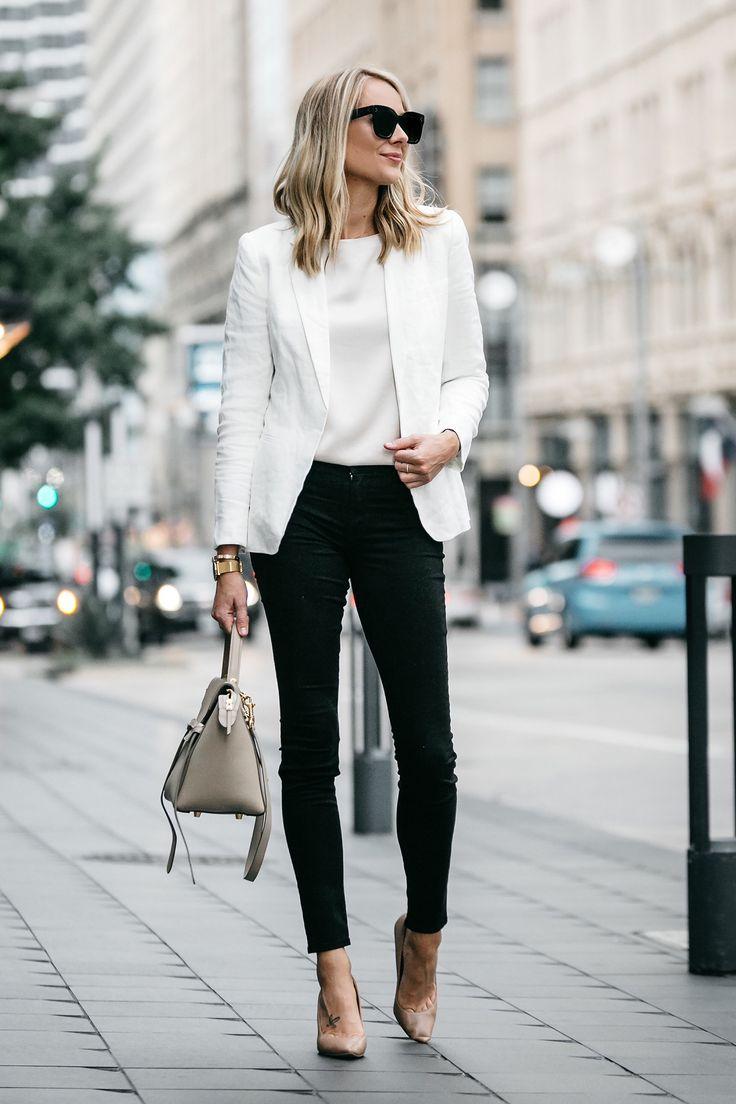 Blonde Woman Wearing Stitch Fix Outfit Joie White Blazer J Brand Black  Skinny Jeans Nude Pumps