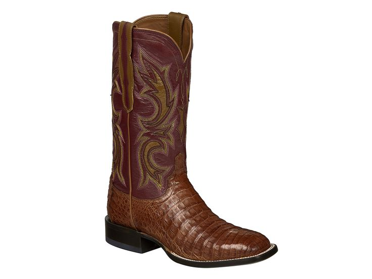 Shop New Lucchese M2679 Shiloh Mens Caiman Crocodile and Calf Leather Western Cowboy Boots in Tan and Wine.  Free Shipping | Harrison Avenue