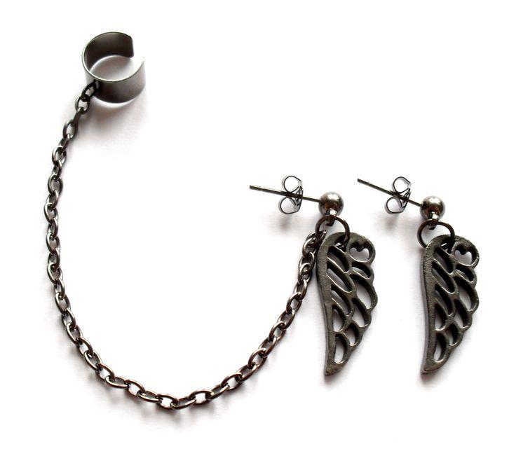 Ear cuff set med vingar