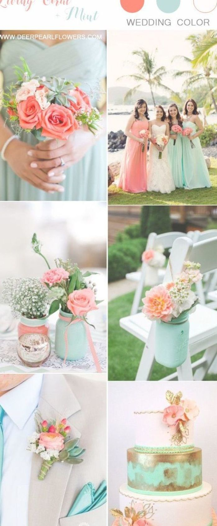 Coral And Mint Green Wedding Color Ideas Wedding Weddings Weddingcolors Weddingideas Deerpear Wedding Mint Green Coral Wedding Colors Coral Wedding Themes