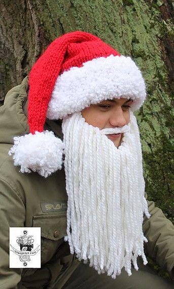 Зимняя тёплая шапка и к ней шерстяная борода #handmade #handknitted #santaclaus #newyear #yarn #wool #hate #beard #masterskaya_tusi