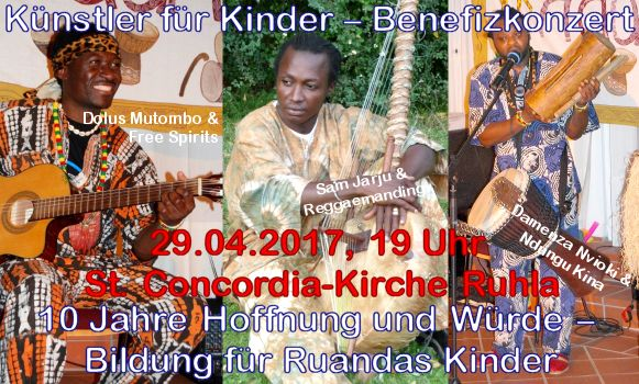 Herzliche Einladung zum Benefizkonzert am 29.4. um 19 Uhr in Ruhla zugunsten des Bildungsprojekts in Ruanda! http://www.st-concordia.de/kultur.htm
